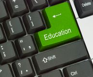 Key for education. Keyboard with key for education Stock Photo