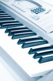 Key electronic piano closeup. close frontal view Royalty Free Stock Images