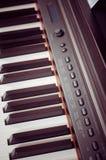 Key electronic piano closeup. close frontal view Royalty Free Stock Image