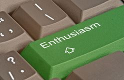 Key for enthusiasm. Keyboard with key for enthusiasm royalty free stock photos