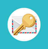 Key with envelope flat design vector Royalty Free Stock Photo