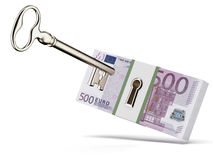 Key and euros. Isolated on a white background. 3d render Royalty Free Stock Photography