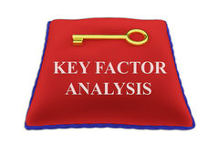 Key Factor Analysis concept. 3D illustration of `KEY FACTOR ANALYSIS` Title on red velvet pillow near a golden key, isolated on white Royalty Free Stock Photo