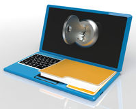 Key And File On Computer Shows Private Password Or Unlocking Royalty Free Stock Photography