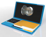 Key And File On Computer Shows Private Password Or Unlocking. Key And File On Computer Showing Private Password Or Unlocking Royalty Free Stock Photo