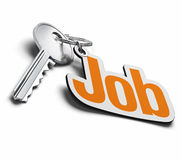 Key for finding a job. Key and job keyring over a white background, the word job is written in orange Royalty Free Stock Image