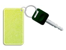 Key with fingerprint access. Green key with fingerprint access Stock Photo