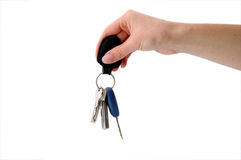 Key Fob and Keys hanging Stock Photo