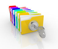 Key and folders Royalty Free Stock Photography