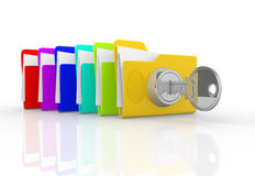 Key and folders Stock Images