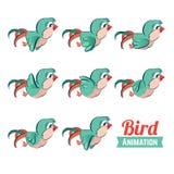 Key frames animation of bird flying. Cartoon zoo vector illustration Royalty Free Stock Photo