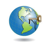 Key in globe. Illustration, which golden key protrudes from globe Royalty Free Stock Image