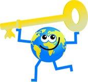 Key globe. Cartoon globe man holding a golden key Royalty Free Stock Image