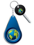 Key and globe design keyholder Stock Photography