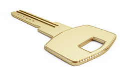 Key gold. Isolated on a white background Royalty Free Stock Photography