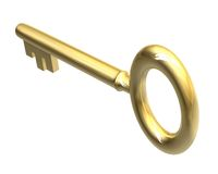 Key in gold (3d) Stock Photography