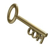 Key in gold with COM text (3d) Royalty Free Stock Photos