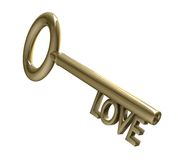 Key in gold with love text (3d) Royalty Free Stock Image