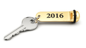 Key with golden keychain 2016. Room key with golden keychain 2016 new year concept isolated on white Royalty Free Stock Image