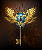Key with golden wings Royalty Free Stock Images