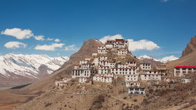 Key Gompa Time Lapse Clouds Panorama. Time Lapse. Panorama of Key Gompa Monastery 4166 m at sunrise. Spiti valley, India stock video footage
