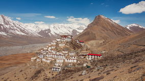 Key Gompa Time Lapse Clouds Zoom Out. Time Lapse. Panorama of Key Gompa Monastery 4166 m at sunrise. Spiti valley, India stock video