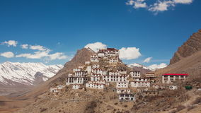 Key Gompa Time Lapse Clouds Zoom. Time Lapse. Panorama of Key Gompa Monastery 4166 m at sunrise. Spiti valley, India stock video footage