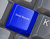 Key for good results. Keyboard with key for good results stock image