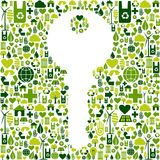 Key with green icons background Stock Image