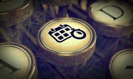 Key on Grunge Typewriter. Time Management Concept. Time Management Icon on Old Typewriter Button. Time Management Concept. Grunge Background for Your Royalty Free Stock Photography