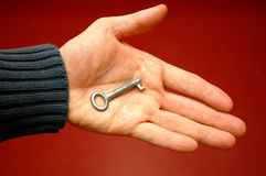 Key in hand 1. Key in hand Royalty Free Stock Images