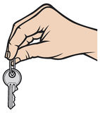 Key in hand. Hand holding key, hand and ke Royalty Free Stock Images