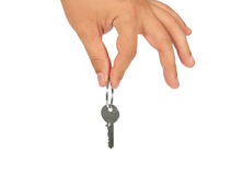 Key in hand. Isolated on a white background Stock Photo