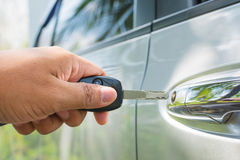 Key in hand is locking the door Royalty Free Stock Photography