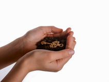Key in handful soil. Golden key in handful soil in hand on an isolated background Royalty Free Stock Image