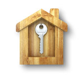 Key hanging in house. Key hanging in a wooden house Stock Photos