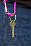 Key hanging from jeans Royalty Free Stock Photography