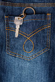 Key hanging out of back pocket of a jeans. Closeup of a jeans back pocket with key hanging out stock illustration