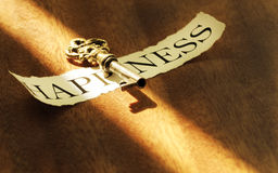 Key of happiness. The key to happiness on the table in a ray of sunshine Royalty Free Stock Images