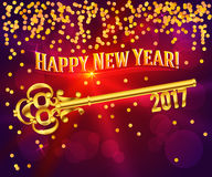 Key happy new year 2017 card. Card Happy New Year 2017 on bright red background festive glittering gold confetti & vintage golden key. Concept of the beginning Royalty Free Stock Photo