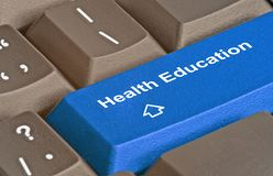Key for health education. Keyboard with key for health education Royalty Free Stock Photos