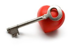 Key and heart Stock Photo