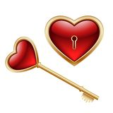 Key and heart. Golden key with a little heart inside and lock as heart Royalty Free Stock Photos