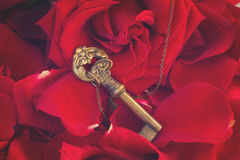 Key with the heart as a symbol of love Royalty Free Stock Photo