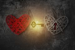 The key is from the heart. New love. Theme for St. Valentine`s Day. 1 Royalty Free Stock Photo