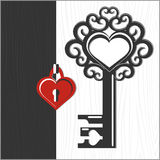 Key and heart shaped lock. Black and white graphical valentine background with red heart. Filigree key with heart frame (for your text). Vector illustration Stock Photos