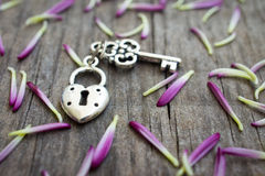 Key with heart shaped lock. Charm on wooden background stock photo