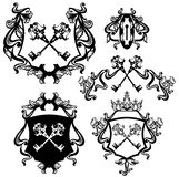 Key heraldry set. Set of skeleton keys heraldry with royal crown and ribbon bows - black and white vector collection Royalty Free Stock Image