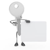 Key hold billboard. House key figure hold a white billboard Royalty Free Stock Images