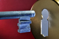 Key hole. And key close up Royalty Free Stock Image